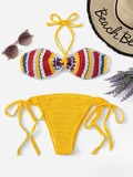 Crochet Halter Top With Tie Side Bikini Set