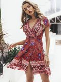 Simplee Floral Print Tie Back Wrap Dress