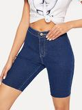 Dark Wash Skinny Frayed Hem Denim Shorts