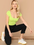 Neon Lime Scoop Neck Fitted Tee