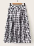 Button Front Gingham Skirt