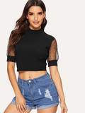 Ribbed Contrast Sequin And Mesh Cuff Crop Tee