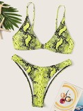 Neon Yellow Snake Skin Print Top With Panty Bikini