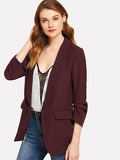 Shawl Collar Ruched Sleeve Open Placket Blazer