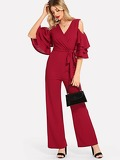 Cold Shoulder Tiered Flounce Sleeve Surplice Jumpsuit