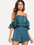 Layered Ruffle Solid Cami Jumpsuit