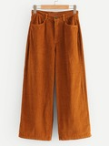 Wide Leg Solid Corduroy Pants