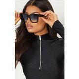 Black Blue Lens Oversized Square Sunglasses
