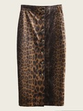 Button Through Leopard Print Skirt