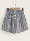 Button Front Paperbag Waist Gingham Shorts