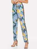 Tropical Print Contrast Striped Side Pants