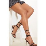 Black Croc Square Toe Ankle Buckle Detail Sandal