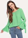 Pearls Beaded Bell Sleeve Top