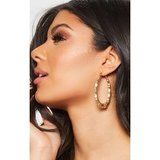 Gold Oval Shape Bamboo Hoop Earrings
