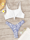 Knot Front Top With Porcelain Print High Leg Bikini
