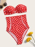 Polka Dot Bustier Top With High Waist Bikini Set