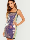 Sequin Contrast Cami Dress