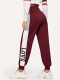 Cut-and-sew Letter Print Sweatpants