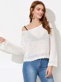 Trumpet Sleeve Eyelet Scalloped  Sweater