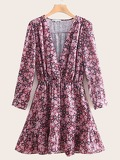 V-neck Ditsy Floral Print Dress