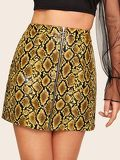 O-zip Front Leather Look Snakeskin Skirt