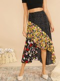 Cut-and-sew Polka Dot & Floral Asymmetric Skirt