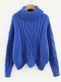 High Neck Cable Knit Asymmetric Hem Jumper