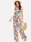 Allover Leaf Print Self Tie Shoulder Wide Leg Jumpsuit