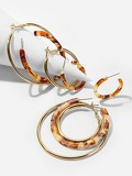 Marble Pattern Hoop Earrings 4pairs