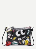 Eye And Letter Print Zipper Detail Clutch Bag