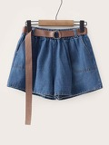 Self Tie Solid Denim Shorts