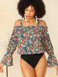 Frill Cold Shoulder Bell Sleeve Tropical Blouse Bodysuit