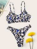 Random Leopard Cami Top With High Cut Bikini