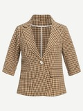 Plaid Single Button Blazer