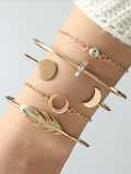 Feather & Moon Bracelet Set 5pcs
