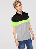 Men Color-block Buttoned Polo Shirt