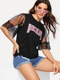 Contrast Lase Cuff Letter Print Tee