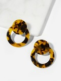 Tortoiseshell Pattern Round & Circle Stud Earrings 1pair