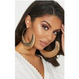 Gold Oversized Hammered Hoop Earrings