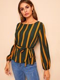 Vertical Stripe Self Belted Blouse