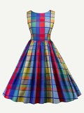 Knot Back Plaid Dress