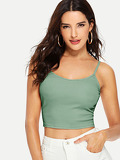 Ribbed Knit Crop Cami Top