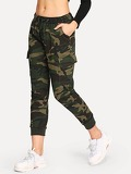 Drawstring Waist Camouflage Jeans
