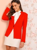 Slim Fitted Solid Buttoned Blazer