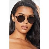 Peach Marble Effect Rose Gold Brow Bar Round Sunglasses