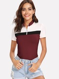 Zip Up Color Block T-shirt