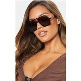 Brown Lens Flat Top Black Frame Hex Shape Sunglasses