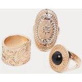 Gold Ornate Oval And Gemstone Ring Multi Pack