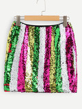 Contrast Sequin Bodycon Skirt