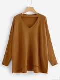 Choker Neck Dip Hem Soft Knit Jumper